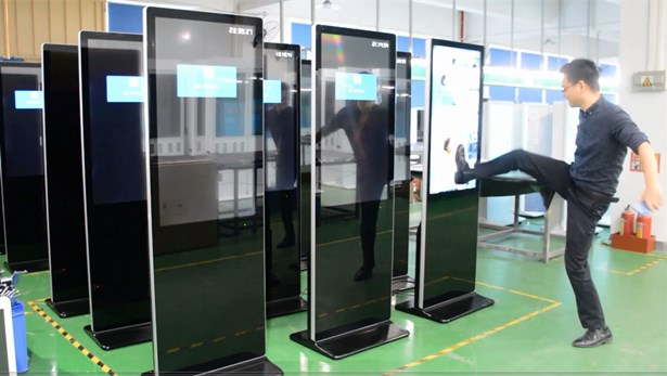 awesome, amazing digital signage LCD advertising machine violence test