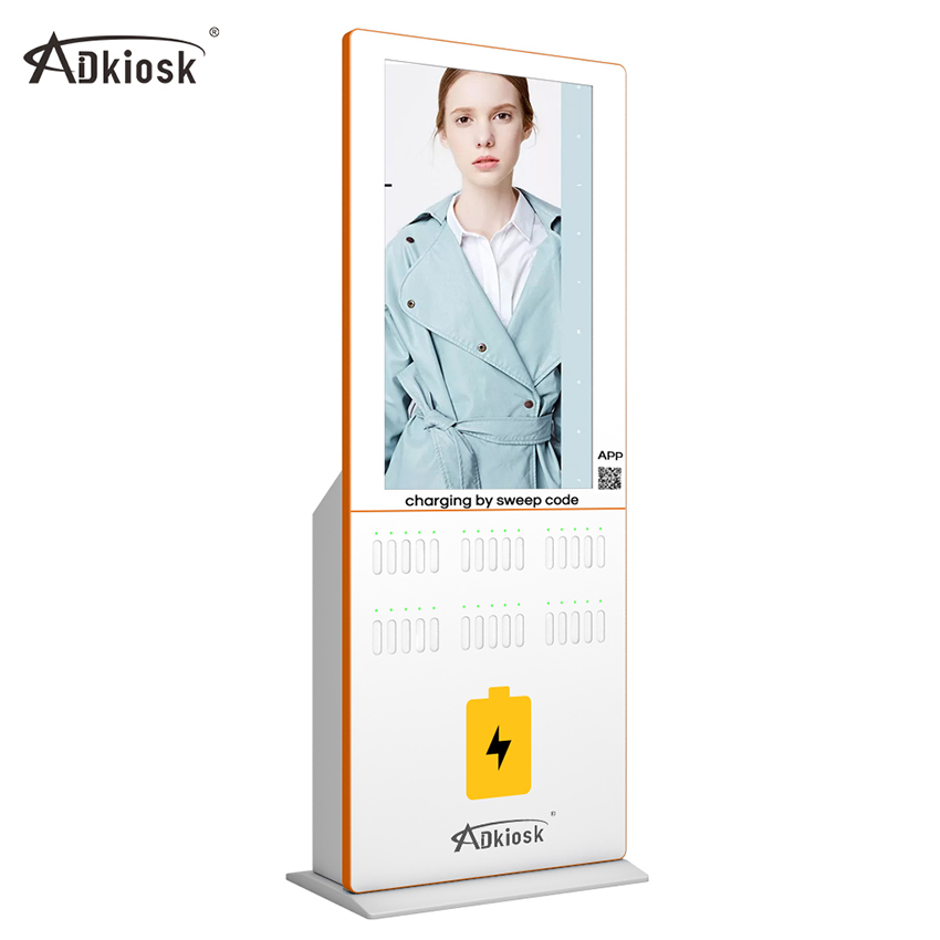 43inch floor stand digital signage sharing charger power bank kiosk
